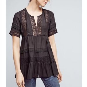 Anthropologie Black Lace Tiered Shirt Blouse